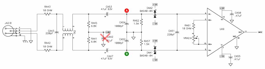 Echo Layla 3G mic preamp schematic
